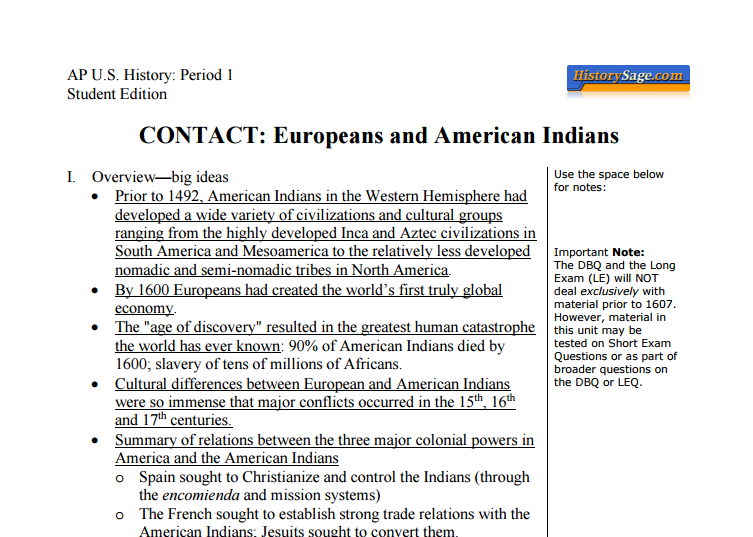 AP U S  History Redesigned Lecture Notes for Students